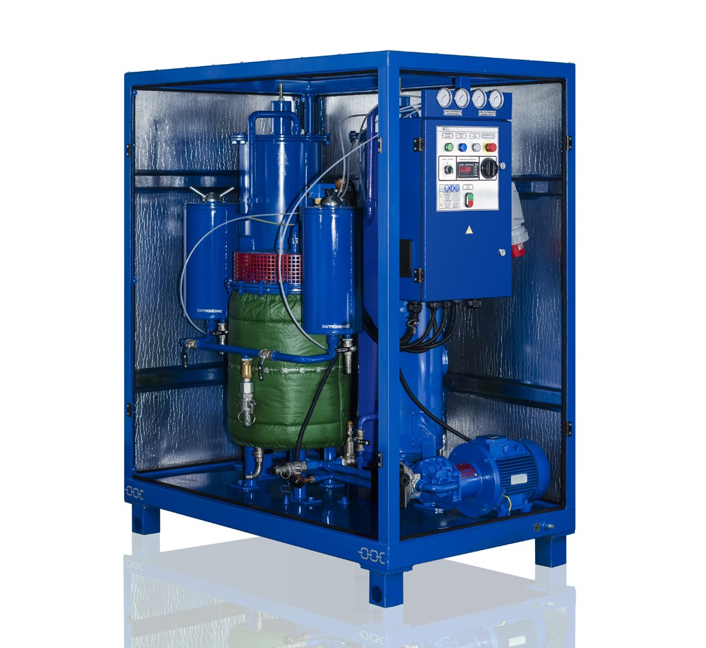 Single section transformer oil regeneration plant MCU (with Zeolite & silicagel adsorbents, capacity 1700 – 4500 LPH)