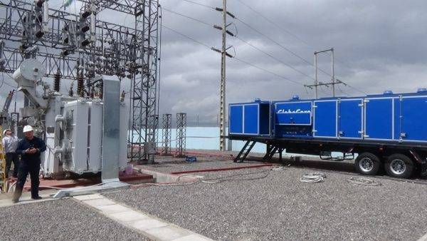Transformer Oil Regeneration Unit CMM-12R at electricity substation.